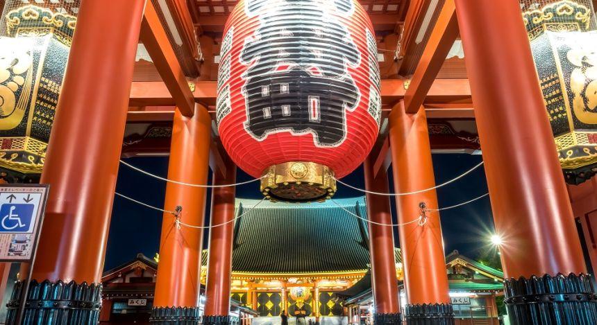 Large Red Lantern at Sensoji Temple in Tokyo