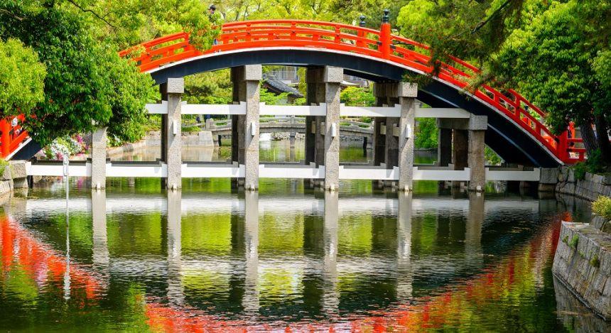 Enchanting Travels Japan Tours Osaka Osaka, Japan at the Taiko Drum Bridge of Sumiyoshi Taisha Grand Shrine