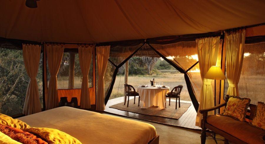 Camp at Siwandu Lodge in Tanzania, Africa