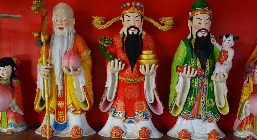 Chinesische Figuren in Chinatown