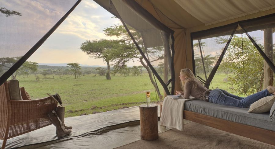 Kenya Tours - Naboisho Camp Masai Mara Guest bedroom tent Interior