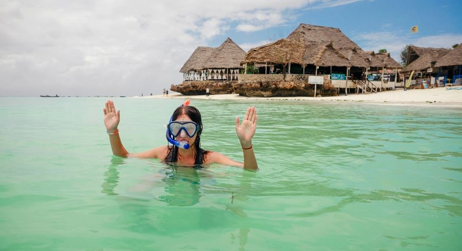 Snorkeling in the Indian Ocean at Zanzibar