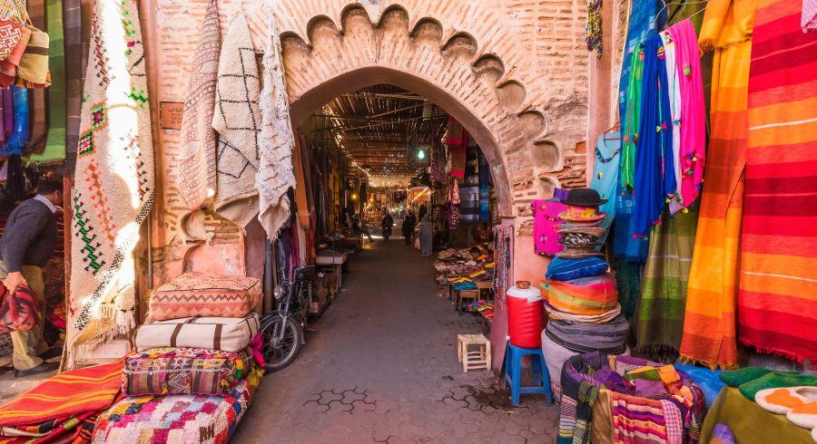 Souvenirs on the Jamaa el Fna market in old Medina, Marrakesh, Morocco