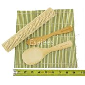 BambooMN  Brand Sushi Rolling Kit 2x Rolling Mats 1x Rice Paddle 1x Spreader Green