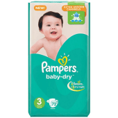 Pampers Baby Dry Diapers Mega No. 3 - 72 Pieces