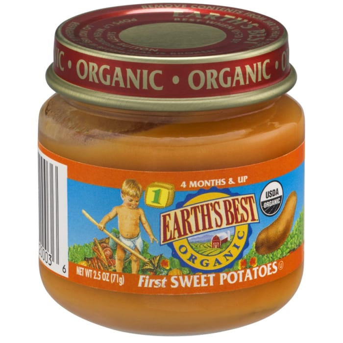 Earths Best Organic My First Veggies Stage 1 Sweet Potato Baby Foods