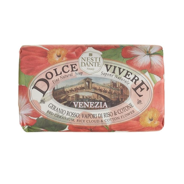 Nesti Dante Soap Dolce Vivere Red Geranium Rice Cloud Cotton Flower