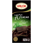 Valor 70% Cacao with Mint Gluten Free Dark Chocolate 100 Grams