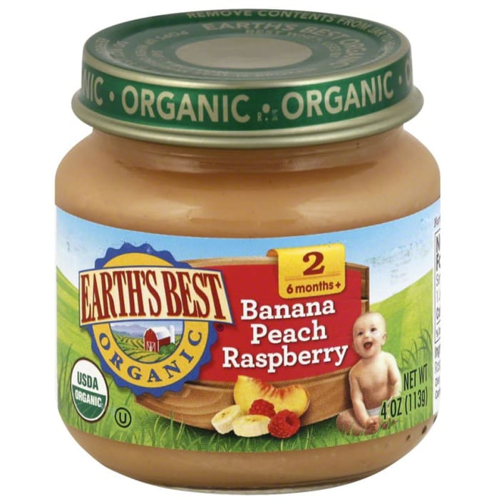 Earth's Best Organic Stage 2 Banana Peach & Raspberry Baby Foods