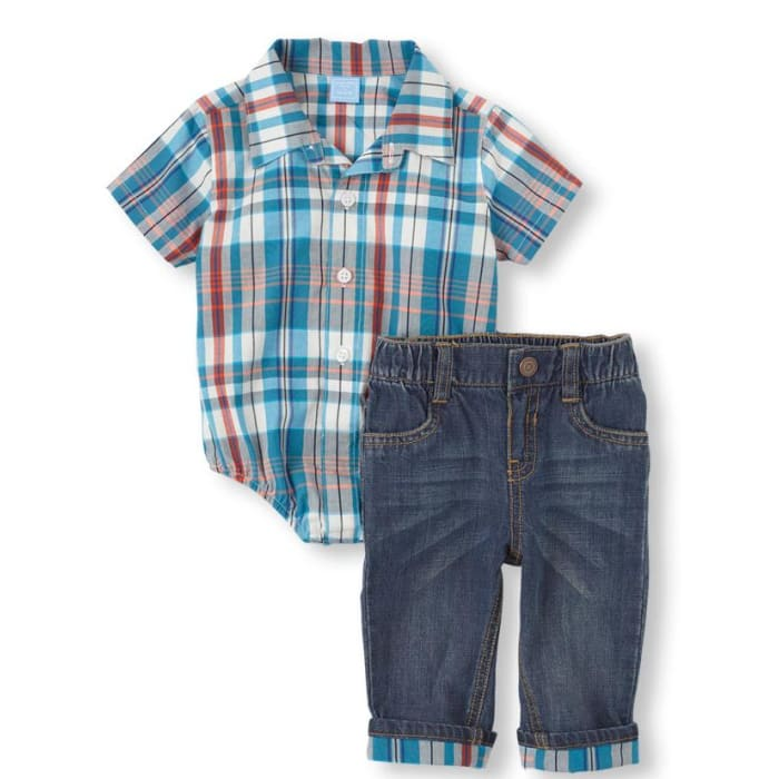 The Children's Place  Boy Plaid Bodysuit & Jeans Set Turq Zap