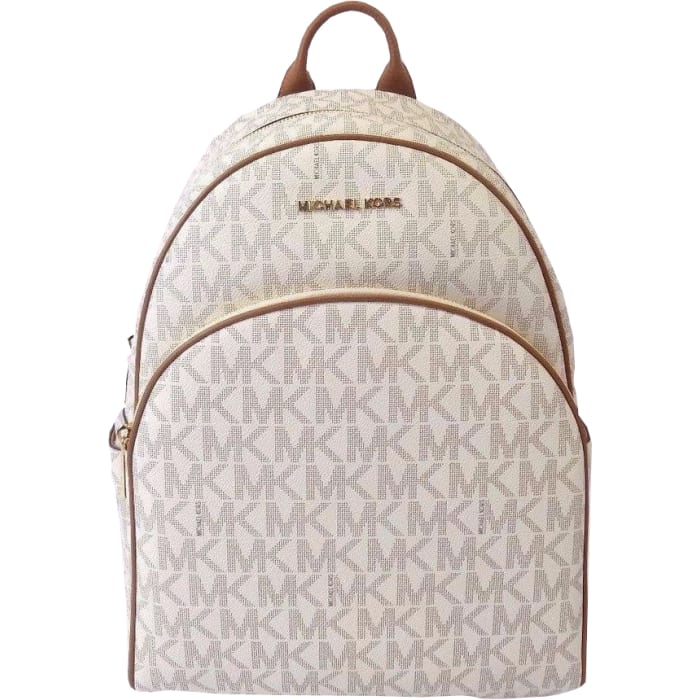 4c212eaffc48 Michael Michael Kors Abbey Jet Set Large Leather Backpack Vanilla