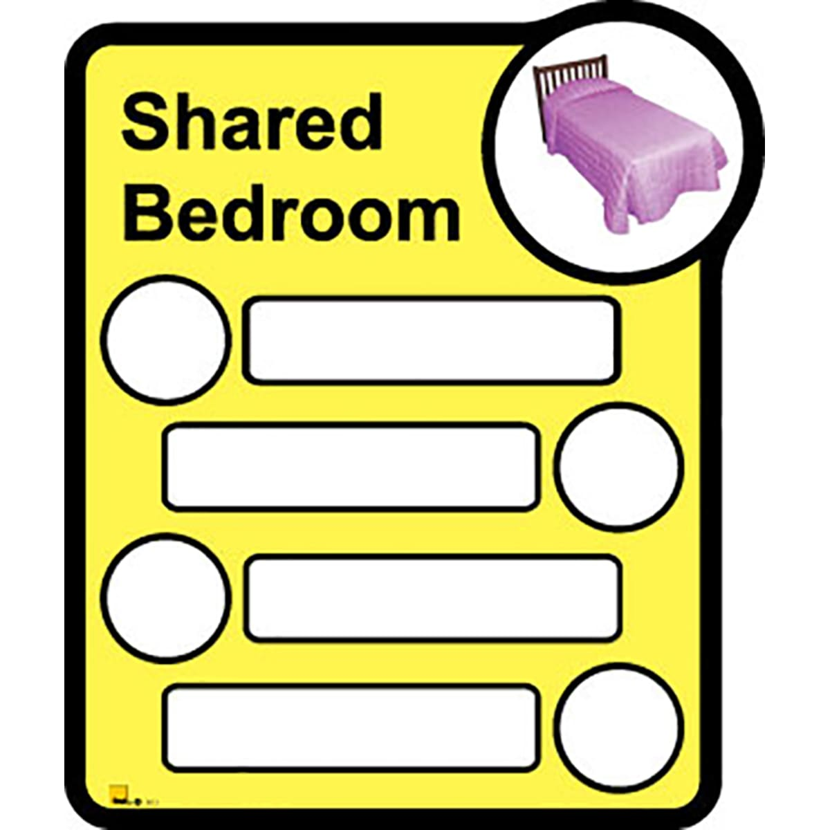 Bedroom Sign - Interchangeable shared by four  - Dementia Signage