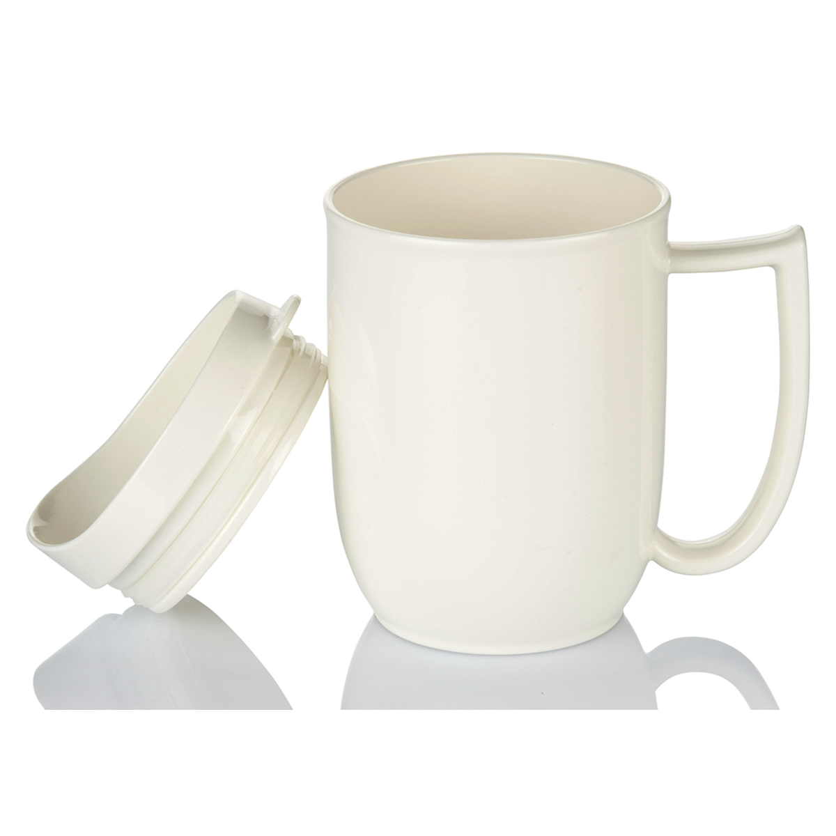 Unbreakable mug with feeder lid and large handle for dementia and alzheimer's care
