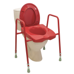 Coloured Toilet Frame with raised seat to assist with dementia and Alzheimer's care