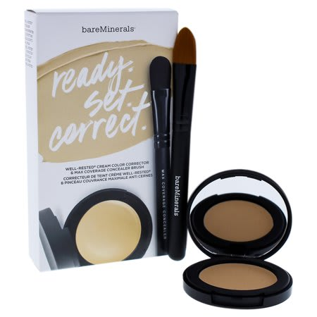 Bareminerals Ready Set Correct-Well Rested Cream Color Corrector Neutralizing 0.08 Oz Max Coverage Concealer Brush Mini 0.01 Oz