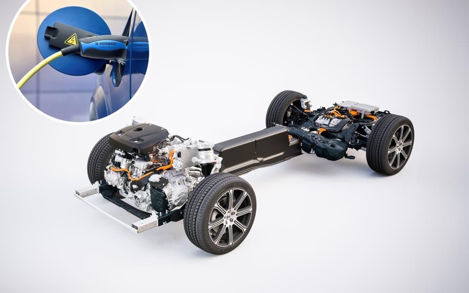 Volvos SPA plattform satt opp som plug-in hybrid med to motorer