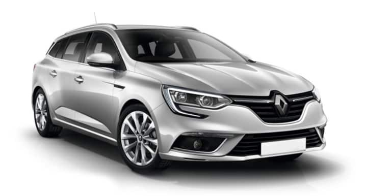 Sølvfarget Renault Megane Sport Tourer mot hvit bakgrunn