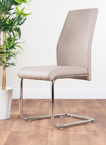 2x Lorenzo Cappuccino Grey Faux Leather Chrome Dining Chairs