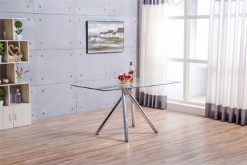Alexa Glass And Chrome Metal Modern Dining Table