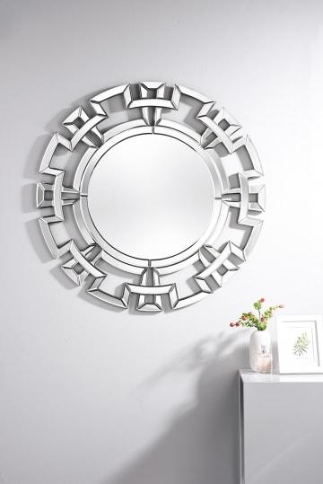 Aztec Small/Medium Silver Round Modern Mirror
