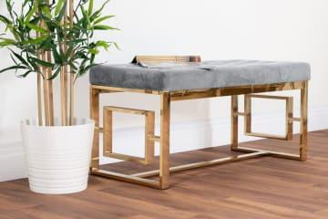 Cambridge Modern Gold Metal & Grey Velvet Upholstered Luxury Bench