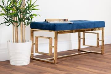 Cambridge Modern Gold Metal & Blue Velvet Upholstered Luxury Bench