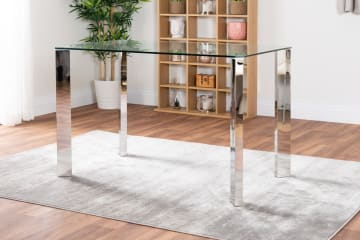 Lucia 4 Glass And Chrome Metal Dining Table