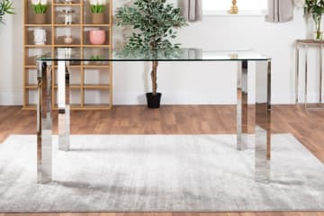Lucia 6 Glass And Chrome Metal Dining Table