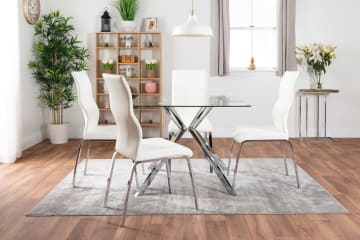 Lazio Square Glass Chrome Table And 4 Luxury Andora Chairs Set