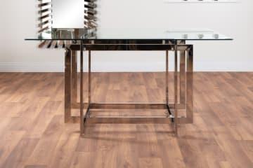 Messina Glass Chrome Metal Dining Table