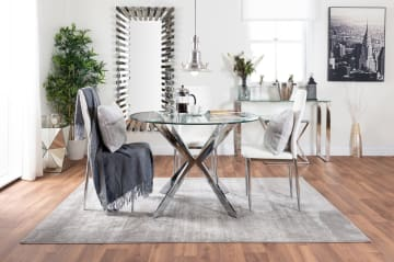 Venice Round Glass Chrome Table And 4 Modern Milan Chairs Set