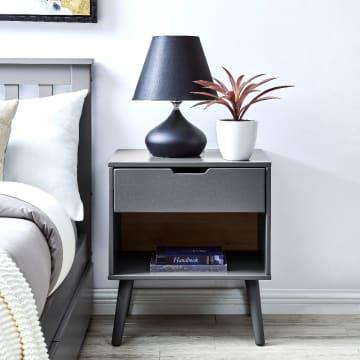 Alma Grey Modern Bedside Table
