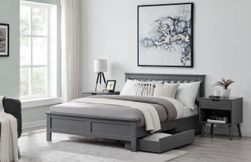 Azure Modern Grey Solid Pine Bed