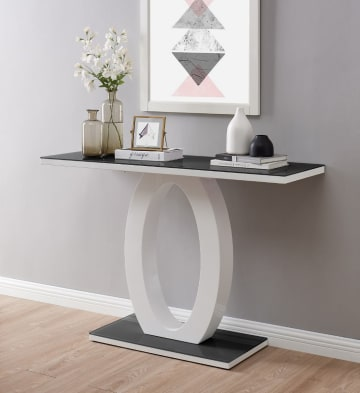 Giovani Modern Black/White Halo High Gloss Glass Console Table