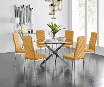 Novara Chrome Metal And Glass Large 120cm Round Dining Table And 4/6 Milan Chairs Set