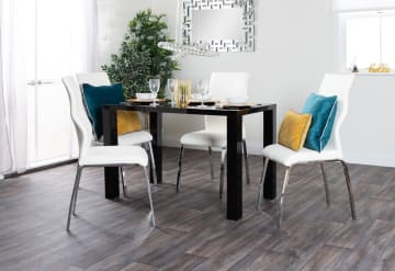 Pivero Black High Gloss Dining Table and 4 Andora Chairs Set