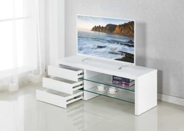 Samba White High Gloss Modern Glass Shelves TV Stand