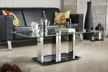 Sophia Modern Stainless Steel And Glass Coffee Table