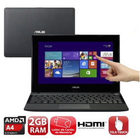 Notebook Asus Serie X Touch Amd A4, 2gb, 320gb, Led 10.1., Win 8, Preto   Asus