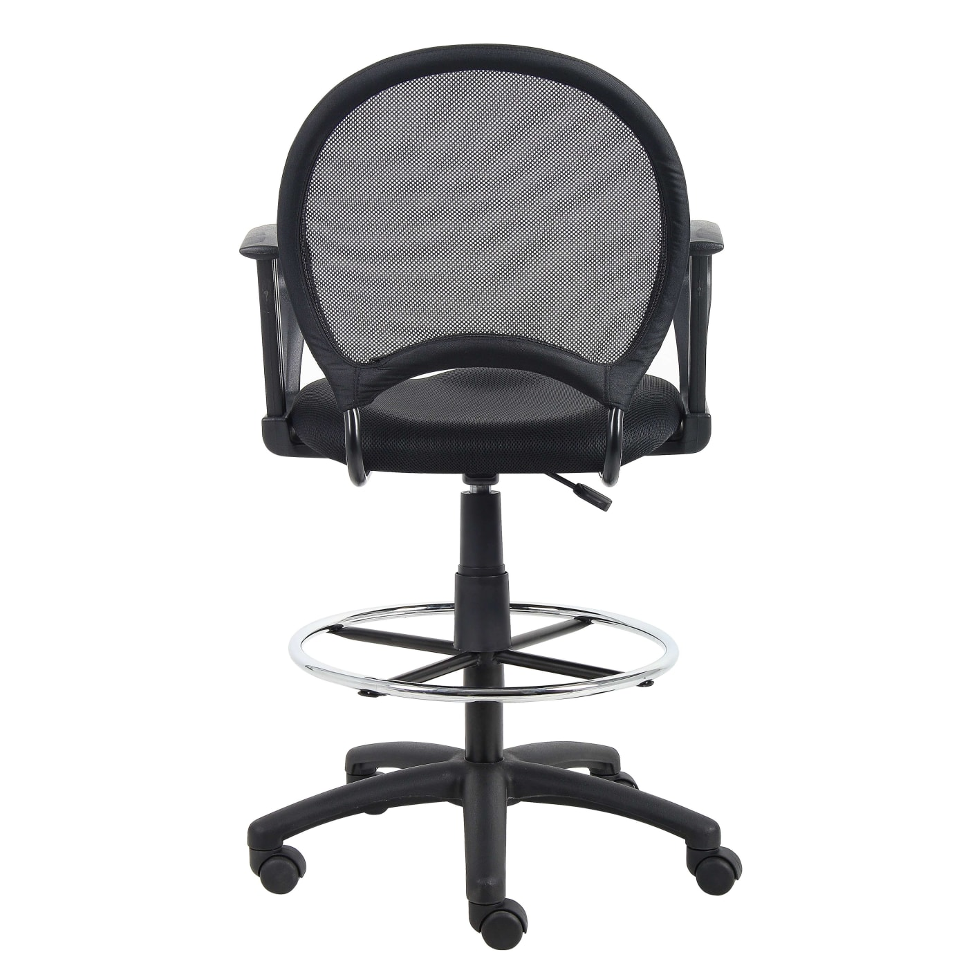 Boss Office Products Black Mesh Drafting Stool With Loop