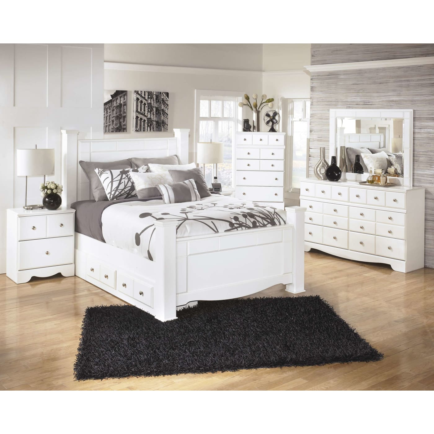 Signature design by ashley weeki white 4 piece queen bedroom set with under bed storage Queen bedroom sets with underbed storage