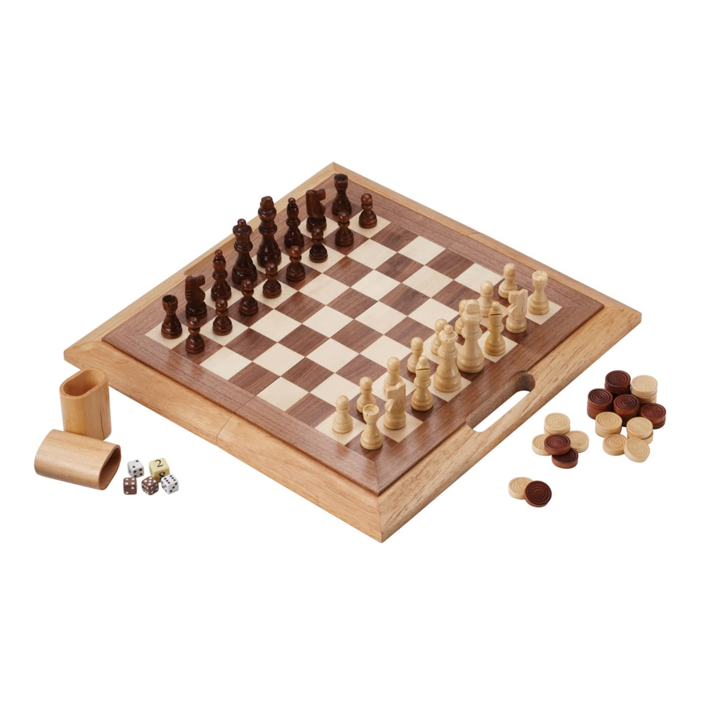 Set Includes Chess Set, Checkers Pieces, 2 Pair Of Dice,