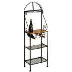 """Grace Collection Satin Black 19"""" Gourmet Rack with Maple Shelf without Tips"""
