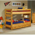 Chelsea Home Cinnamon Twin Over Twin Bunk Bed with Trundle Unit