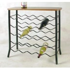Grace Collection Satin Black 25 Bottle Wine Rack with Wood Top