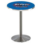 "Holland Bar Stool 36"" Stainless Steel DePaul University Pub Table with Round Base"
