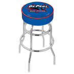 "Holland Bar Stool 25"" DePaul University Cushion Seat Swivel Bar Stool with Double-Ring Chrome Base"