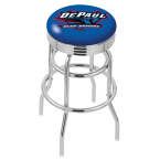 "Holland Bar Stool 25"" Chrome DePaul University Double-Ring Swivel Bar Stool with 2.5"" Ribbed Accent Ring"