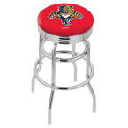 """Holland Bar Stool 30"""" Chrome Florida Panthers Double-Ring Swivel Bar Stool with 2.5"""" Ribbed Accent Ring"""