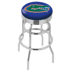 """Holland Bar Stool 30"""" Chrome University of Florida Double-Ring Swivel Bar Stool with 2.5"""" Ribbed Accent Ring"""